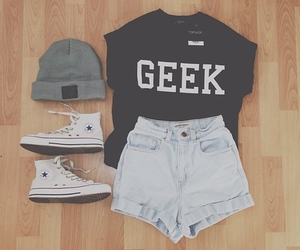 fashion, geek, and outfit image