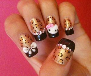 nails, hello kitty, and nail art image
