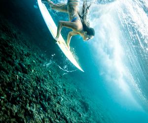 girl, sea, and surf image