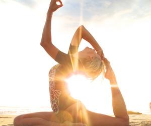 yoga, sun, and beach image