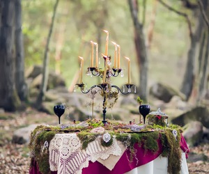 candles, forest, and table image