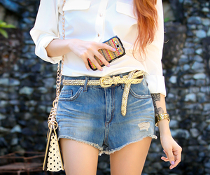 denim shorts, samsung phone, and casual outfit image
