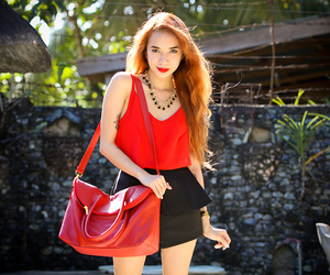 red lipstick, red bag, and gold accessories image