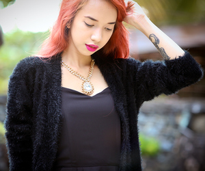 black cardigan, fur cardigan, and mac flat out fabulous image