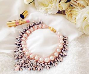 necklace, pink, and lipstick image