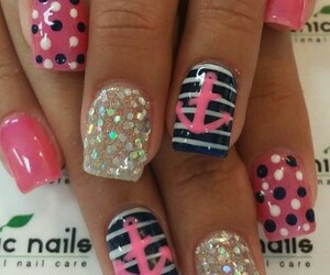 pink anchor, blue and white nails, and line nails image