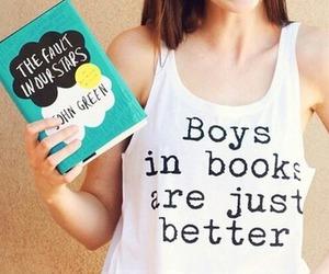 book, boy, and girl image