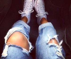 converse, jeans, and girl image