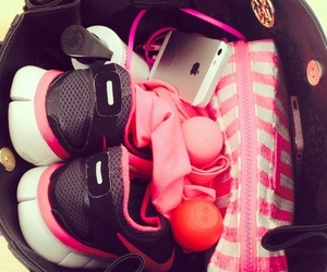 nike, pink, and iphone image
