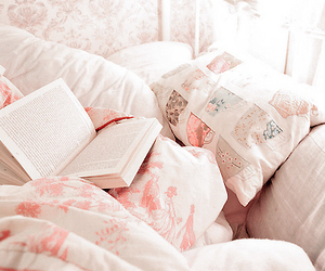 book, bed, and pink image