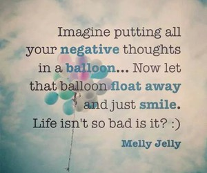 smile, balloons, and quote image