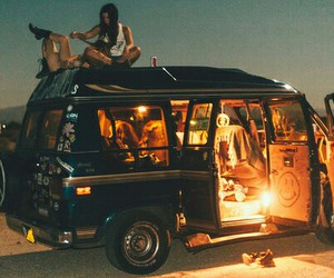 car, friends, and hippie image