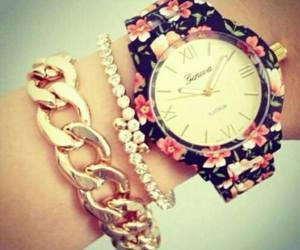 watch, flowers, and clock image