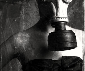b&w, black and white, and gas mask image