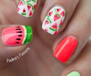 nails, watermelon, and summer image