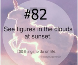 82, 100 things to do in life, and figures in clouds image