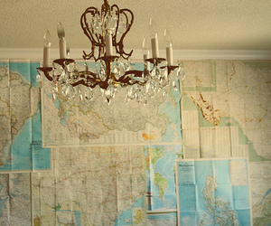 chandelier, map, and victorian image