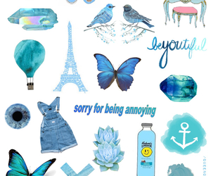 blue, Collage, and heart image
