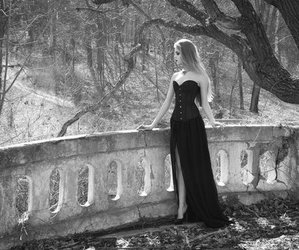 girl, gothic, and forest image