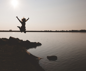 girl, jump, and silhouette image