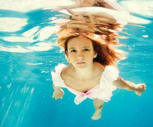 blue, girl, and underwater image
