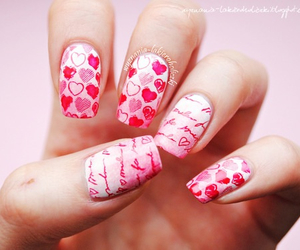 amor, nails, and valentines day image