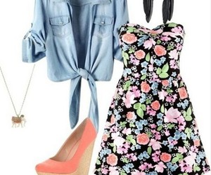high heels, outfit, and dress image
