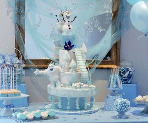 blue, snowman, and cake image