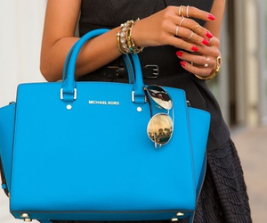 bag, blue, and Michael Kors image