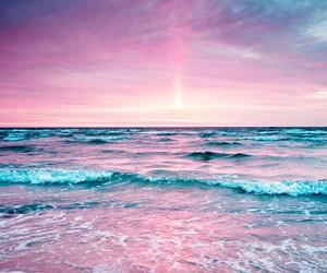 beach, lila, and pink image