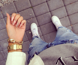 airforce, grey, and ripped jeans image