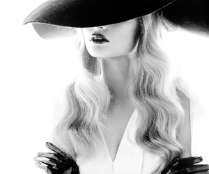 b&w, black and white, and hat image