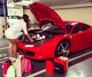 girl, car, and shopping image