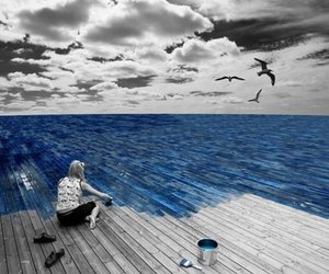 blue, paint, and sea image