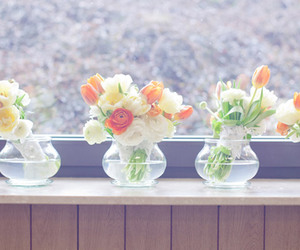 flowers, glass, and vintage image