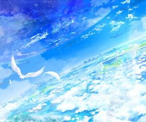 sky, anime, and landscape image