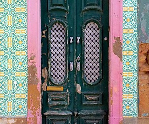 door, architecture, and pink image
