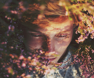 flowers and boy image