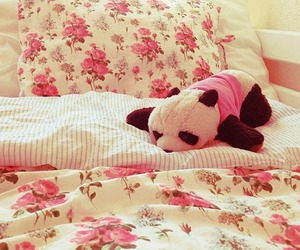panda, pink, and bed image