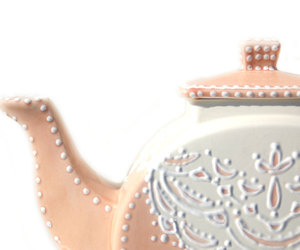 lace, peach, and teapot image