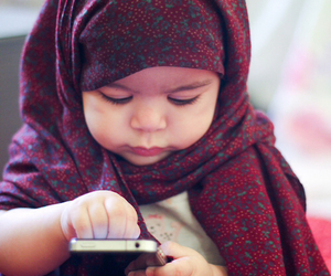 hijab, islam, and texting image