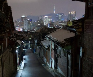night, city, and korea image