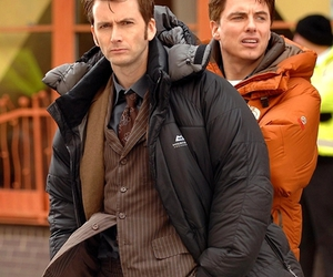 captain jack harkness, david tennant, and john barrowman image