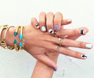 nails, bracelet, and rings image