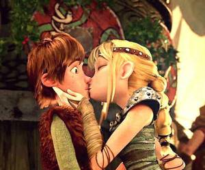astrid, hiccup, and kiss image