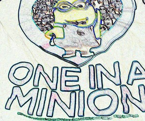 drawings, minion, and one in a minion image