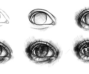 eyes, black and white, and pencil image
