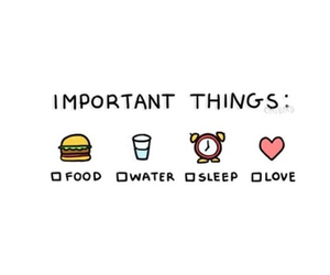 love, food, and sleep image