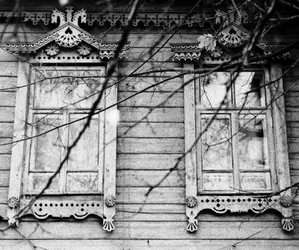 black and white, windows, and house image