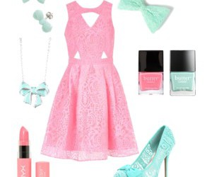 bows, pastel, and dress image